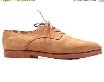 SALE . Beige Suede BROGUES for Men 80s Nubuck Oxfords Wingtips Office Smart Derby Shoes Faded Leather Vintage Men US 8, Eur 41, Uk 7.5