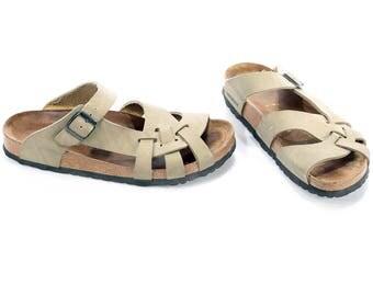 BIRKENSTOCK Pisa Sandals 90s Soft Footbed Moss Green Slip On Beige Cork Sole Comfort Fit Shoes Open Toe Multi Straps US wom 9.5 Uk 7 Eur 40