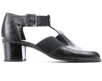 Retro Mary Janes Shoes 90s Black Leather Block Chunky Heel 90s Maryjanes Shoes Stretchy Slides European Quality Us 7.5 , Eur 38 , Uk 5