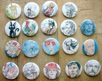 You Pick 5 - 1.5 Inch (38mm) Art Buttons - Disney, Sherlock, Game of Thrones, Alan-A-Dale, Harley Quinn, Pokemon, Steven Universe & More