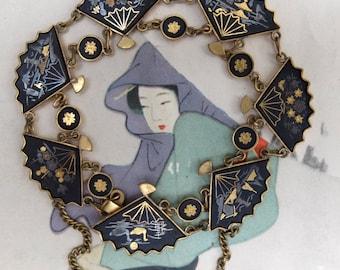 Vintage Amita Bracelet Damascene Fan