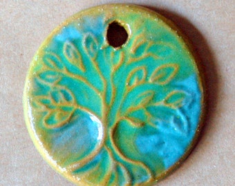 Tree of Life Ceramic Bead - Extra Large Pendant Bead with Extra Large Hole - Green Glaze over Rustic Brown Clay