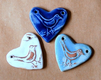 3 Sweet Ceramic Bird Heart Pendant Beads in 3 unique glazes - Valentine's Day Gift - Sweet Spring Songbird - Shabby Chic Boho Style