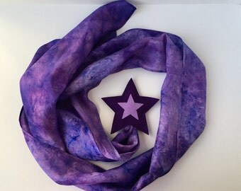 Silk and Wool Shooting Star-- violet hand dyed silk and merino wool