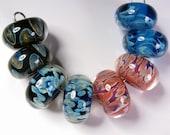 Lampwork Boro Bead Pairs, Lampwork Beads, Bead Pairs, - BBGLASSART, Glass Beads, Mixed Pairs #2