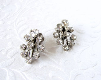 Dainty Rhinestone Clip Back Earrings Small 1950s Vintage Costume Jewelry Wedding Bridal Formal Cocktail Evening Prom