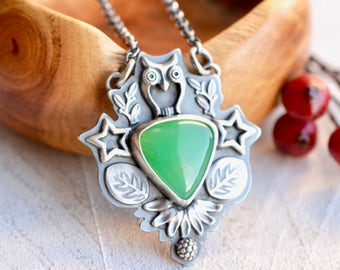 Silver Necklace, Silver Owl Necklace, Chrysoprase Necklace, Natural Stone Pendant, Botanical Necklace, Green Gemstone Jewelry, Artisan Metal