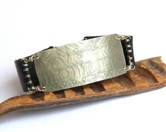 Men's Etched Silver and Leather Cuff Bracelet (B1328)