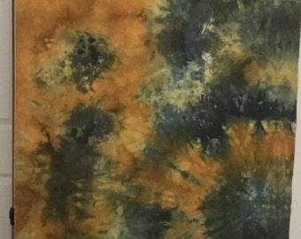 Hand Dyed Fabric - Mustard Yellow and Blue Agate - 1 yard -  Modern Shibori Cotton - 326