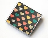 Vinyl Moo Square Card Holder - Deeply Madly / vinyl, snap, mini card case, moo case, small, square, valentine, love, gift, hearts, vintage
