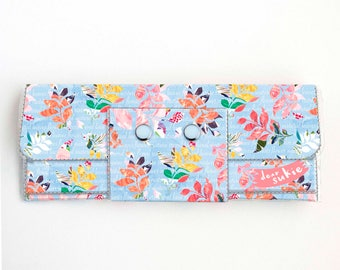 Vinyl Long Wallet - Joyful Spring3 / floral, blue, polka dot, vegan, pretty, large wallet, clutch, card case, vinyl wallet, big, woman