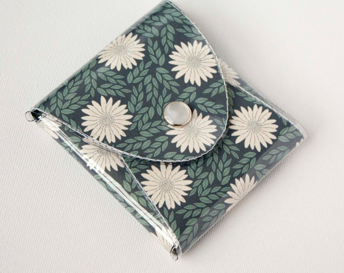 NEW Handmade Vinyl Coin Purse - Daisy Blue / wallet, vegan, change, snap, small, little, pocket wallet, gift, floral, blue, flowers, daisies