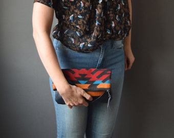 Fold-Over Clutch - Black/Red/Blue/Orange