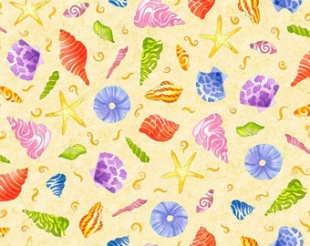 Jewels of the Sea, Shells on Yellow from Quilting Treasures, 1 yard
