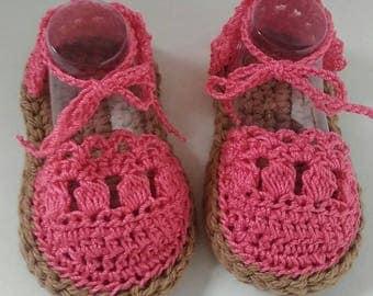 Crochet Espadrille sandals, crocheted sandals, summer shoes, crocheted baby girl booties, crocheted Espadrille, crochet cotton shoes, pink