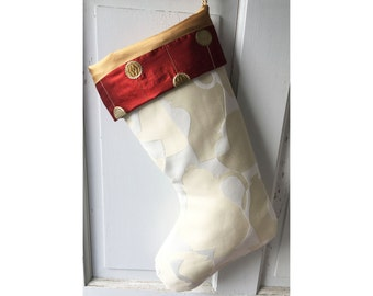 Large Cream Coffee Christmas Stocking - Coffeehouse Cafe Latte Geek Heirloom Holiday Decor