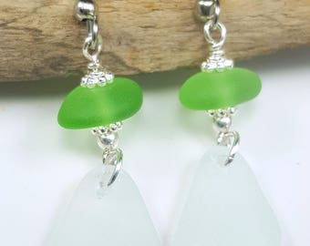 Sea Glass Earrings Sea Glass Jewelry Kelly Green Sea Glass Earrings Beach Glass Earrings   E-219