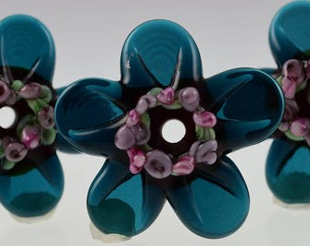 Inky Blue Daisy Rose Lampwork Beads