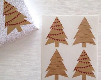 festive kraft christmas tree stickers
