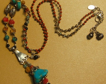 Hand knotted, multi gemstone and Bali sterling silver beaded long necklace