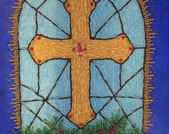 Wall Art, Bead Embroidered painting, Church window,Bead Art