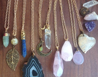 Choose your Crystal Chain Necklace - Long Brass - Agate Rose Quartz Clear Quartz Moon - Bohemian Gypsy Jewelry - Hippie Funky Boho Jewels