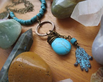 Long Turquoise Stone and Ceramic Necklace - With Brass Chain - Hamsa Hoop - Funky OOAK Festival Fashion - Yogi - Bright Blue Gem Crystal