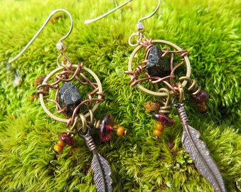 Dreamcatcher Inspired Earrings - Black Tourmaline Garnet - Mixed Metals Copper Brass - Boho Luxe Gold Filled Wire - Gemstone Crystal Jewelry