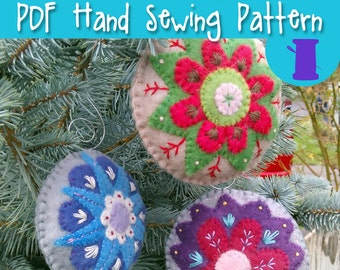 Felt Holiday Ornament PDF Sewing Pattern - hand embroidered designs heirloom wool hand stitched christmas solstice pine tree fir tree
