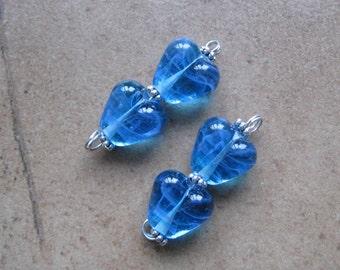 Turquoise Blue Heart Beads - Lampwork Beads - SueBeads - Heart Beads - Turquoise Blue Heart Bead Pair - Handmade Lampwork Beads - SRA M67