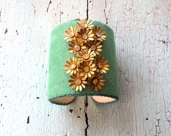 Green Adjustable Cuff with Gold Flowers and Rhinestone Centers
