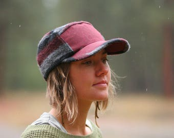 Wool and Waxed Canvas Hat | Field Hat | Unisex Wool Cap | Gifts for Him | Camp Hat | Wooly Stripe and Maroon