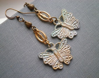 Butterfly Dangle Earrings - Hand Painted Butterfly Charm Dangles w/ Vintage Brass Chain Links & Tiny Tulips - Bohemian Insect Jewelry Gift