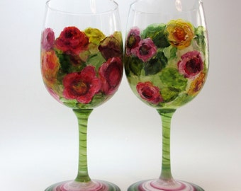 Pair Hand Painted Floral Wine Glasses- Original Home Decor- Valentine's Day