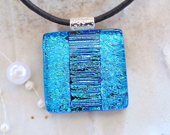 Blue Necklace, Dichroic Glass Pendant, Fused Jewelry, Necklace Included, One of a Kind, A9
