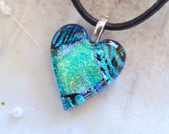 Petite, Dichroic Pendant, Heart Pendant, Glass Jewelry, Blue, Green, Black, Necklace Included, A8