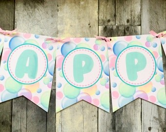 Bubble Birthday Banner,Bubble Banner, Bubble Birthday Party, Bubble Pennant banner,Bubble Party Supplies, Bubble Party wall decorations