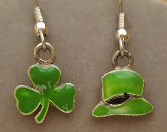 Shamrock & Irish Top Hat Earrings