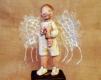 Ring Traveler Angel - Hand Carved Wood