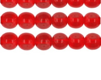 """Goes well with Cat's Eye Beads, 15"""" Strand, Glass beads - RED - Choose your size"""