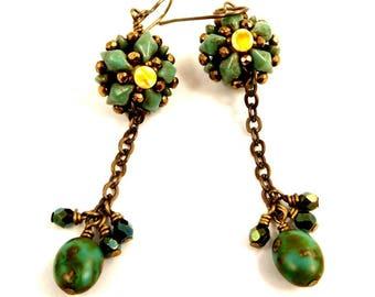Turquoise Green Earrings Handwoven Bronze Beadwoven Jewelry Long Dangle Earrings Bronze Antique Brass Accessory