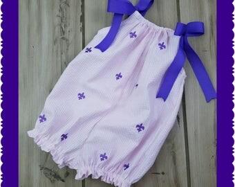 Bubble Romper ~ Pink seersucker Fleur de Lis Baby Romper ~ Toddler Girl's Sunsuit ~ Seersucker Beach Outfit ~ Birthday Photo prop Outfit