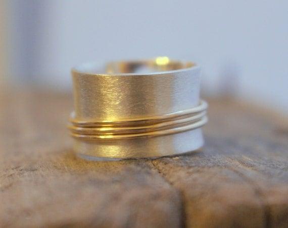 Sterling Silver Brushed Gold Spinner Ring - Silver Gold Fiddle Ring SR122