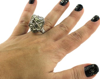Pyrite & Sterling Silver Sparkly Ring that Rocks size 7