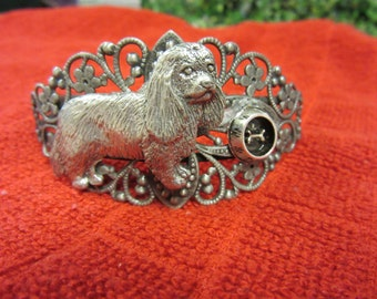 Lovely Silver Plated Filigree Cavalier King Charles Spaniel with Feeding Bowl-Ltd. Ed