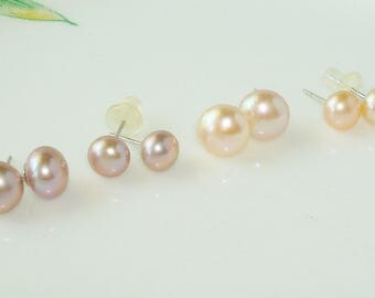 Pink or Lavender Freshwater Cultured Button Pearl Sterling Silver .925  stud and post earrings 6 to 6.5 or 7.5 to 8.5 mm - Handpicked