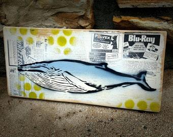Humpback Whale Graffiti Painting on Canvas Pop Art Style Original Artwork Stencil Urban Street Art Ocean Art