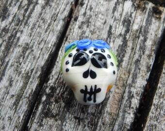 Sugar Skull Blues, Lampwork Bead, Simply Lampwork by Nancy Gant, SRA G55