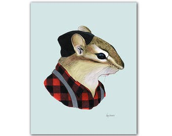 Chipmunk - modern animal art - gallery wall art - apartment art - animals in clothes - animal artwork - Ryan Berkley 5x7