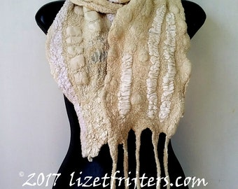 Textured Nuno Felted Scarf - Cream Beige